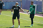 Getafe's goalkeeping coach Javier Barbero (l) with Jean Paul Garcia during training session. May 25,2020.(ALTERPHOTOS/Acero)