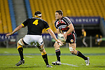 Kristian Ormsby takes the ball forward as Jeremy Thrush moves in in to stop him. Air New Zealand Cup rugby game between Counties Manukau Steelers & Wellington played at Mt Smart Stadium on the 31st August 2007. The Score was 13 all at halftime, with Wellington going on to win 33 - 18.