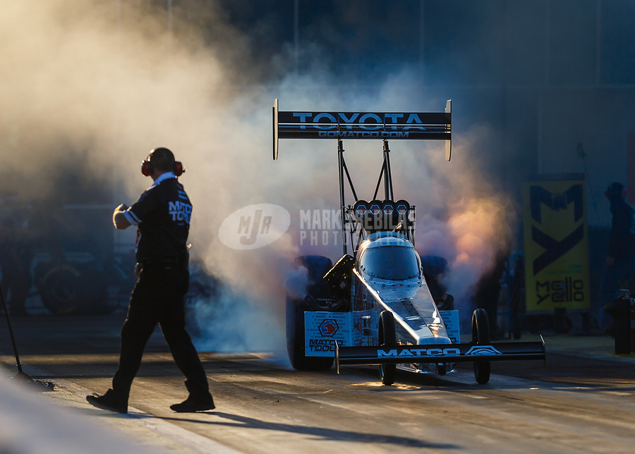 Mar 17, 2017; Gainesville , FL, USA; NHRA top fuel driver Antron Brown during qualifying for the Gatornationals at Gainesville Raceway. Mandatory Credit: Mark J. Rebilas-USA TODAY Sports