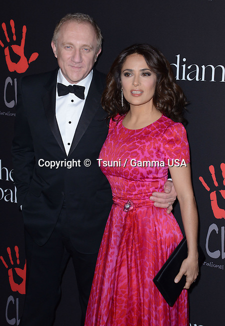 Salma Hayek and husband Francois-Henri Pinault 105 the 1st Annual Diamond Ball benefiting the Clara Lionel foundation held at the Vineyard Beverly Hills. December 11, 2014