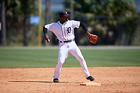 Detroit Tigers Jeremiah Burks (18) during a Minor League Spring Training game against the Toronto Blue Jays on March 22, 2019 at the TigerTown Complex in Lakeland, Florida.  (Mike Janes/Four Seam Images)