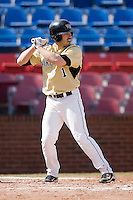 Steven Brooks #1 of the Wake Forest Demon Deacons at bat versus the Xavier Musketeers at Wake Forest Baseball Park March 7, 2010, in Winston-Salem, North Carolina.  Photo by Brian Westerholt / Four Seam Images