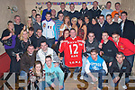 4906-4910..Key to the Door - Tommy Leahy, seated centre having a great time with friends and family at his 21st birthday party held in The Greyhound Bar on Saturday night. Tommy is holding the jersey of good friend Mark Enright who died tragically last week............................................................................................................................................................... ........................   Copyright Kerry's Eye 2008