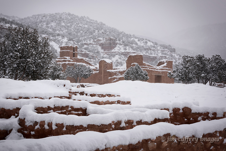 The Jemez Historic Site (Giusewa Pueblo) covered in new snow.