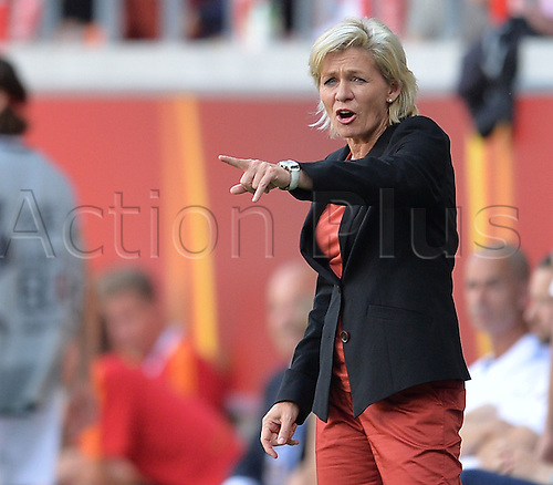 17.07.2013. Kalmar, Sweden.  German coach Silvia Neid reacts during the UEFA Women's EURO 2013 Group B soccer match between Germany and Norway at the Kalmar Arena in Kalmar, Sweden, 17 July 2013.