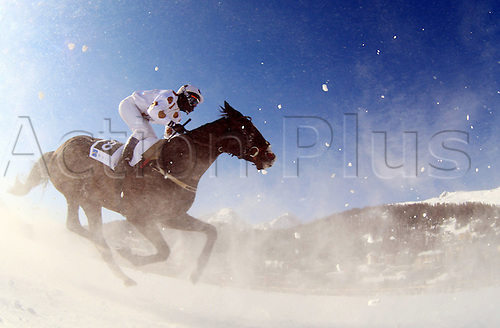 Equestrian sports, Horse race on Snow White Turf St Moritz, International Race Switzerland, Flat race, 14 February 2010 Equestrian sports riding Horse race Horse riding Skijoring Joring White Turf St Moritz.