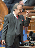 United States Representative Eliot Engel (Democrat of New York) speaks to a colleague from his usual spot on the aisle in anticipation of US President Barack Obama's final State of the Union Address in the US House Chamber in the US Capitol on Tuesday, January 12, 2016.<br /> Credit: Ron Sachs / CNP<br /> (RESTRICTION: NO New York or New Jersey Newspapers or newspapers within a 75 mile radius of New York City)