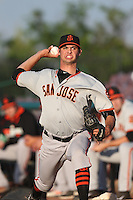 Tyler Beede (15) of the San Jose Giants throws in the bullpen before pitching during a game against the Inland Empire 66ers at San Manuel Stadium on May 30, 2015 in San Bernardino, California. Inland Empire defeated San Jose, 6-4. (Larry Goren/Four Seam Images)