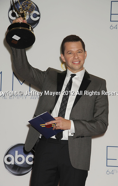 LOS ANGELES, CA - SEPTEMBER 23: Jon Cryer poses in the press room at the 64th Primetime Emmy Awards held at Nokia Theatre L.A. Live on September 23, 2012 in Los Angeles, California.