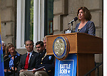 Tracy Soliday, with Congressman Mark Amodei's office, speaks at the USS Nevada Centennial of Launch ceremony at the Capitol, in Carson City, Nev., on Friday, July 11, 2014.<br /> Photo by Cathleen Allison