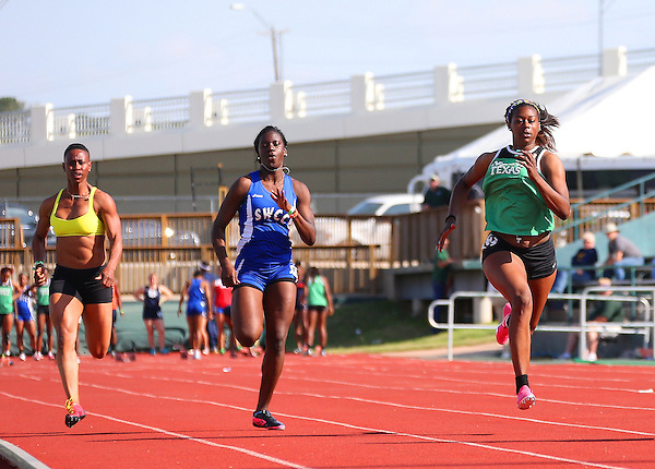 DENTON, TX - APRIL 6: Mona Landry runs in the 100 meter dash at the University of North Texas Track and Field Classic at Fouts Field on April 6, 2013 in Denton, Texas.  (Photo by Rick Yeatts)