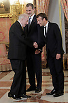 King Felipe VI of Spain (c), receives in the Royal Palace the President of the French Republic Emmanuel Macron (r) in presence of Spanish pinter Juan Navarro Baldeweg. July 26,2018. (ALTERPHOTOS/Acero)