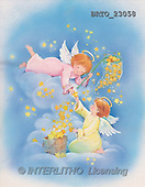 Alfredo, CHRISTMAS CHILDREN, angels, paintings, 2 angels, catching star(BRTO23058,#XK#)