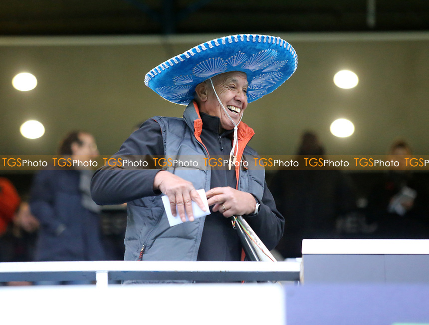 fan wearing a sombrero hat as the it rains during Queens Park Rangers vs Middlesbrough, Sky Bet EFL Championship Football at Loftus Road Stadium on 9th November 2019