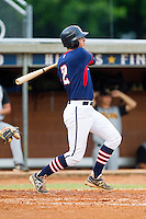 Robbie Streett #2 (Charleston Southern) of the High Point-Thomasville HiToms follows through on his swing against the Wilson Tobs at Finch Field on June 17, 2013 in Thomasville, North Carolina.  The Tobs defeated the HiToms 3-2 in 11 innings.  Brian Westerholt/Four Seam Images
