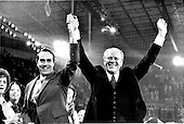 United States President Gerald R. Ford, right, and his running mate, US Senator Bob Dole (Republican of Kansas), left, acknowledge the cheers of the delegates to the 1976 Republican National Convention at the Kemper Arena in Kansas City, Missouri on August 19, 1976.<br /> Credit: Arnie Sachs / CNP