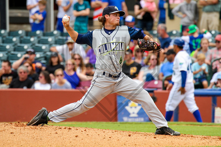 Columbia Fireflies pitcher Matt Blackham (6) during a South Atlantic League game against the Lexington Legends on May 28, 2017 at Whitaker Bank Ballpark in Lexington, Kentucky.  Columbia defeated Lexington 3-0. (Brad Krause/Krause Sports Photography)
