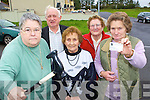 Irene Cotter warns Brian Cowan to keep away from our Medical Cards after the news that over 70's will no longer automatically qualify for a medical card l-r: Eireen Cotter, Paddy Hickey, Nora Browne, Mary O'Connor and Nell Murphy from Knocknagoshel   Copyright Kerry's Eye 2008