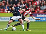 Ben Marshall of Millwall and Chris Basham of Sheffield Utd during the championship match at the Bramall Lane Stadium, Sheffield. Picture date 14th April 2018. Picture credit should read: Simon Bellis/Sportimage