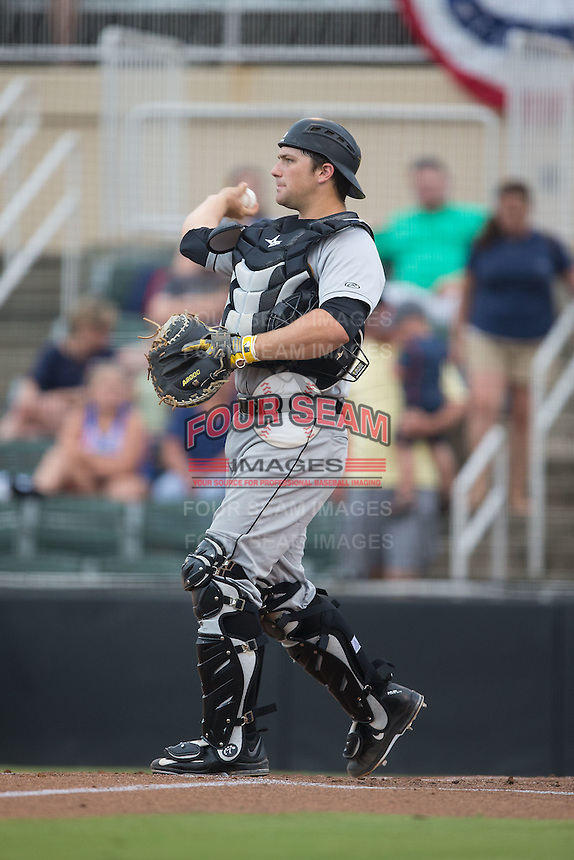 West Virginia Power catcher Taylor Gushue (17) throws the ball back to his pitcher during the game against the Kannapolis Intimidators at Intimidators Stadium on July 3, 2015 in Kannapolis, North Carolina.  The Intimidators defeated the Power 3-0 in a game called in the bottom of the 7th inning due to rain.  (Brian Westerholt/Four Seam Images)