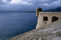 Fortified citadel along the coast in Calvi, Corsica, France.