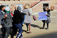 Washington, DC - February 10, 2017: Protestors block Secretary of Education Betsy DeVos and clash with her security detail as she arrives at the Jefferson Jefferson Middle Academy in the District of Columbia, February 10, 2017. Three protestors successfully prevented DeVos from entering the school.  (Photo by: Don Baxter/Media Images International)