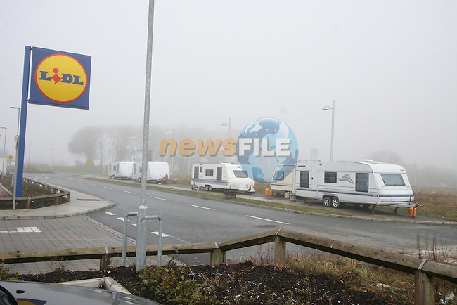 Caravans parked in the M1 Retail Park...Photo NEWSFILE/Jenny Matthews.(Photo credit should read Jenny Matthews/NEWSFILE)....This Picture has been sent you under the condtions enclosed by:.Newsfile Ltd..The Studio,.Millmount Abbey,.Drogheda,.Co Meath..Ireland..Tel: +353(0)41-9871240.Fax: +353(0)41-9871260.GSM: +353(0)86-2500958.email: pictures@newsfile.ie.www.newsfile.ie.FTP: 193.120.102.198.