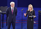 Debate moderators Anderson Cooper, left, and Martha Raddatz, right, address the audience prior to former United States Secretary of State Hillary Clinton, the Democratic Party nominee for President of the US and businessman Donald J. Trump, the Republican Party candidate for President of the US, appearing in the second of three presidential general election debates at Washington University in St. Louis, Missouri on Sunday, October 8, 2016.<br /> Credit: Ron Sachs / CNP<br /> (RESTRICTION: NO New York or New Jersey Newspapers or newspapers within a 75 mile radius of New York City)