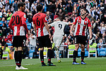 Real Madrid's Karim Benzema celebrates goal and Athletic Club de Bilbao's (L-R) Aritz Aduriz, Mikel San Jose and Yeray Alvarez during La Liga match between Real Madrid and Athletic Club de Bilbao at Santiago Bernabeu Stadium in Madrid, Spain. April 21, 2019. (ALTERPHOTOS/A. Perez Meca)