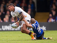 Wasps' Nathan Hughes is tackled by Bath Rugby's Jonathan Joseph<br /> <br /> Photographer Bob Bradford/CameraSport<br /> <br /> Premiership Rugby Cup - Bath Rugby v Wasps - Sunday 5th May 2019 - The Recreation Ground - Bath<br /> <br /> World Copyright © 2018 CameraSport. All rights reserved. 43 Linden Ave. Countesthorpe. Leicester. England. LE8 5PG - Tel: +44 (0) 116 277 4147 - admin@camerasport.com - www.camerasport.com