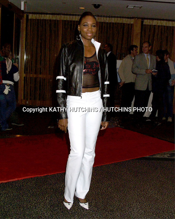 ©2003 KATHY HUTCHINS / HUTCHINS PHOTO.WOMEN'S TENNIS ASSOCIATION.TOUR CHARITIES FASHION SHOW & GALA.SANTA MONICA, CA.NOVEMBER 3, 2003..VENUS WILLIAMS IN A LEATHER JACKET SHE DESIGNED FOR WILSON LEATHERS