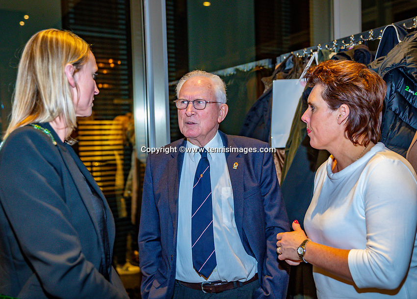 Den Bosch, The Netherlands, Februari 07 2019,  Maaspoort , FedCup  Netherlands - Canada, official dinner, Steffanie Rottier (L) Ruurd de Boer and Mirjam Oremans<br /> Photo: Tennisimages/Henk Koster