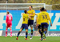 Danny Hylton of Oxford United celebrates after scoring the opening goal during the Sky Bet League 2 match between Oxford United and Luton Town at the Kassam Stadium, Oxford, England on 16 April 2016. Photo by Liam Smith.
