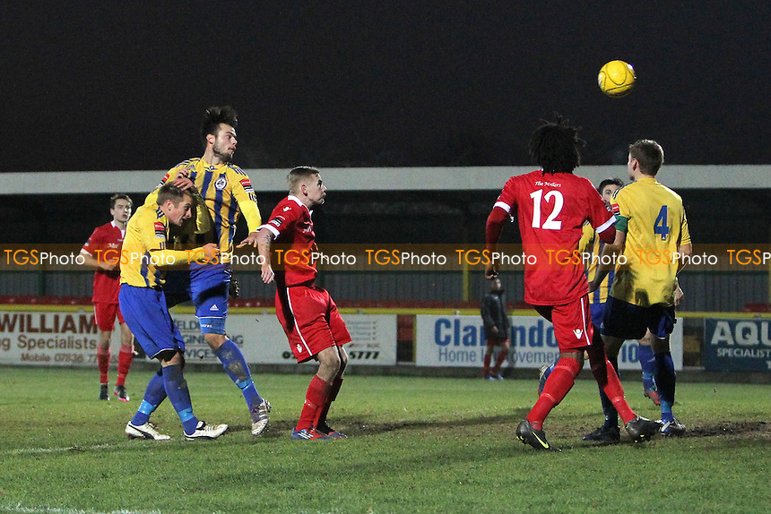 Matt Toms scores the second goal for Romford - Romford vs Aveley - Ryman League Division One North Football at Ship Lane, Thurrock FC - 08/12/12 - MANDATORY CREDIT: Gavin Ellis/TGSPHOTO - Self billing applies where appropriate - 0845 094 6026 - contact@tgsphoto.co.uk - NO UNPAID USE.