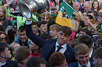 18-1-2017: Four goal hero, Team Captain and Man of the Match, David Clifford from Fossa Killarney raises the Tommy Markem Cup at Fitzgerald Stadium Killarney when the team received a hero's welcome at the homecoming on Monday evening.<br /> Photo: Don MacMonagle