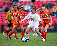 Danielle Hubka (34) of Maryland sets up to take a shot during the game at Ludwig Field in College Park, MD.  Maryland defeated Miami, 2-1, in overtime.
