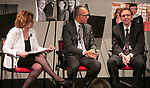 "Carol Marin, co-director of the Center for Journalism Integrity and Excellence, left, interviews Lester Holt, anchor of ""NBC Nightly News,"" center, and Ben Welsh, a DePaul alumnus and data journalist with the Los Angeles Times, during a talk with College of Communication students, Thursday, April 20, 2017. The center honored Holt and Welsh for work that embodies the highest principles of journalism, including truth, accuracy, fairness and context. (DePaul University/Jeff Carrion)"