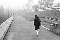 Leaving school at the end of the day, Whitworth Comprehensive School, Whitworth, Lancashire.  1970.