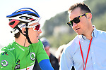Green Jersey holder Arnaud Demare (FRA) Groupama-FDJ chats with recently retired rider now working with ASO Thomas Voeckler (FRA) at sign on before the start of Stage 6 running 198km from Sisteron to Vence, France. 9th March 2018.<br /> Picture: ASO/Alex Broadway | Cyclefile<br /> <br /> <br /> All photos usage must carry mandatory copyright credit (&copy; Cyclefile | ASO/Alex Broadway)