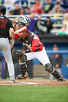 Batavia Muckdogs catcher Pablo Garcia (7) during a game against the Aberdeen Ironbirds on July 16, 2016 at Dwyer Stadium in Batavia, New York.  Aberdeen defeated Batavia 9-0. (Mike Janes/Four Seam Images)