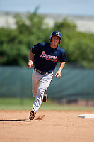 Atlanta Braves Logan Brown (57) runs the bases during a Florida Instructional League game against the Philadelphia Phillies on October 5, 2018 at the Carpenter Complex in Clearwater, Florida.  (Mike Janes/Four Seam Images)