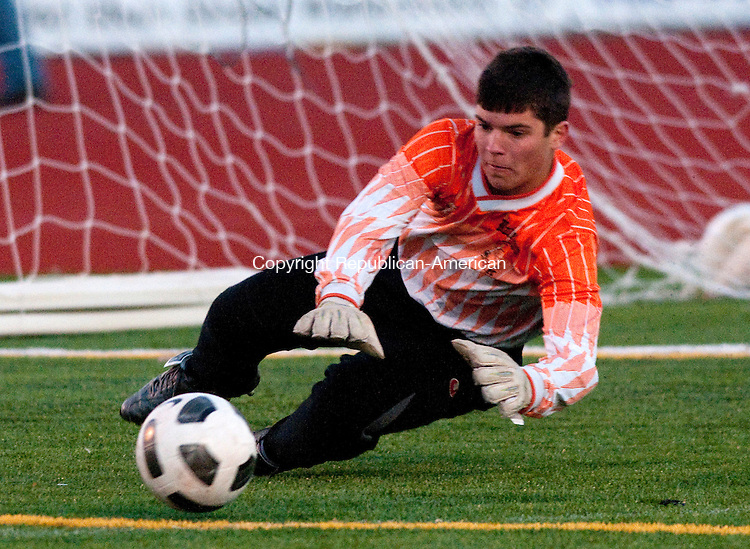 WATERTOWN, CT, 01 NOVEMBER 2010-110110JS01-FOR ACTION MAN-Watertown goal keeper Dave Hughes makes a save in their3-0 win over Woodland during the boys NVL soccer semi-final game Monday at Watertown High School. <br />  Jim Shannon Republican-American