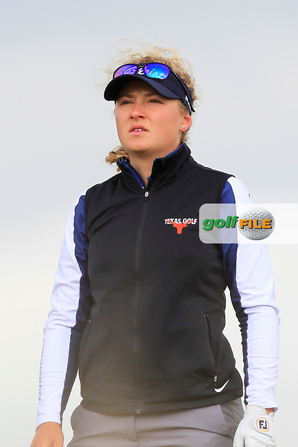 Sara Kouskova (CZE) on the 8th tee during Round 3 Matchplay of the Women's Amateur Championship at Royal County Down Golf Club in Newcastle Co. Down on Friday 14th June 2019.<br /> Picture:  Thos Caffrey / www.golffile.ie