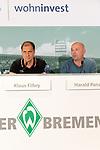 14.06.2019, Wohninvest Weserstadion, Bremen, GER, 1.FBL, Werder Bremen Partnerschaft mit Wohninvest, <br /> <br /> Werder Bremen hat die Namensrecht für 10 Jahre an die Wohninvest in Stuttgart verkauft. Das Stadiuon wird künftig wohninvest Weserstadion heißen<br /> im Bild<br /> <br /> Klaus Filbry (Vorsitzender der Geschäftsführung / Kaufmännischer Geschäftsführer SV Werder Bremen)<br /> Harald Panzer ( Chief Exceutive Officer)<br /> <br /> Foto © nordphoto / Kokenge