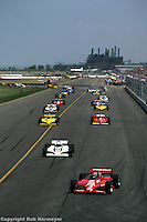 Bobby Rahal leads the field during a parade lap before the 1983 CART race at Burke Lakefront Airport in Cleveland, Ohio.