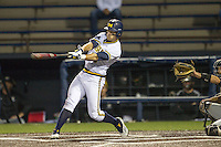Michigan Wolverines third baseman Jake Bivens (18) swings the bat against the Oakland Golden Grizzlies on May 17, 2016 at Ray Fisher Stadium in Ann Arbor, Michigan. Oakland defeated Michigan 6-5 in 10 innings. (Andrew Woolley/Four Seam Images)