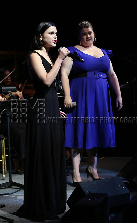 Alexandra Socha and Bonnie Milligan on stage at the  2017 Dramatists Guild Foundation Gala presentation at Gotham Hall on November 6, 2017 in New York City.