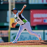 19 June 2018: Vermont Lake Monsters pitcher Jhenderson Hurtado on the mound against the Connecticut Tigers at Centennial Field in Burlington, Vermont. The Lake Monsters defeated the Tigers 5-4 in the conclusion of a rain-postponed Lake Monsters Opening Day game started June 18. Mandatory Credit: Ed Wolfstein Photo *** RAW (NEF) Image File Available ***