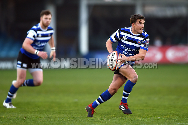 Alex Davies of Bath United goes on the attack. Premiership Rugby Shield match, between Bath United and Gloucester United on April 8, 2019 at the Recreation Ground in Bath, England. Photo by: Patrick Khachfe / Onside Images