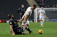 Fiacre Kelleher of Macclesfield Town and Lawson D'Ath of MK Dons during MK Dons vs Macclesfield Town, Sky Bet EFL League 2 Football at stadium:mk on 17th November 2018